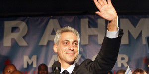 Chicago mayor-elect Rahm Emanuel gestures after speaking to supporters during an election night party in Chicago February 22, 2011. Former White House chief of staff Rahm Emanuel will be the next mayor of Chicago, winning more than 50 percent of the vote on Tuesday to avoid a run-off. Emanuel will take the helm of the nation's third-largest city and President Barack Obama's hometown in May after Mayor Richard Daley, who has been in office for 22 years, retires. REUTERS/Frank Polich (UNITED STATES - Tags: POLITICS ELECTIONS IMAGES OF THE DAY)